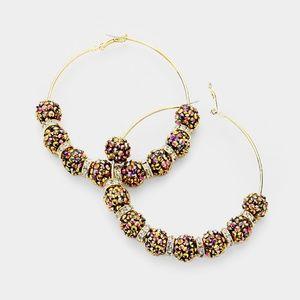 Jewelry - Blinged Gold Shamballa Disco Beads Hoop Earrings